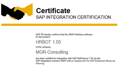 MGR-CONSULTING COMPANY CERTIFIED WITH SAP LABS ITS HR-BOT - APP